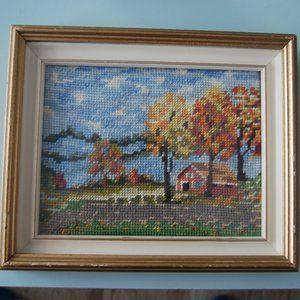 Cross stitch framed vintage picture